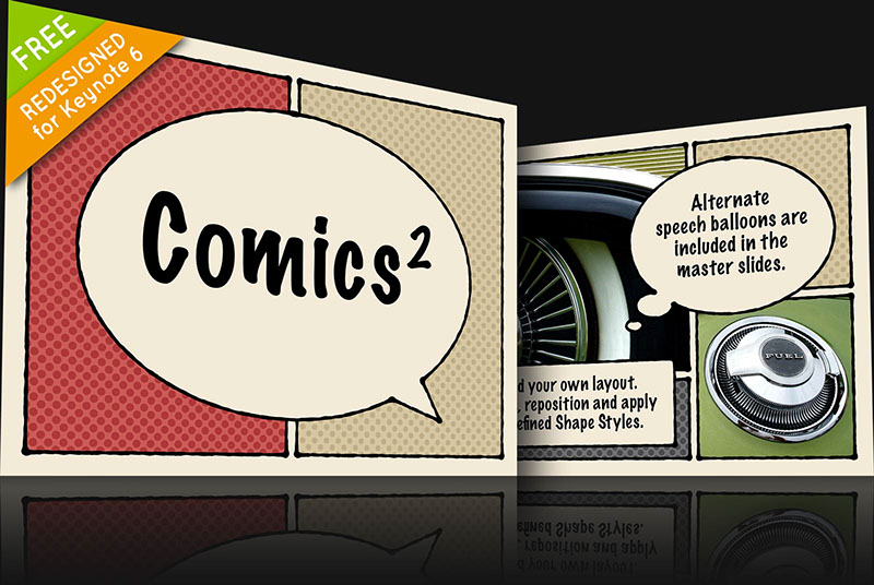 Free Comics 2 Keynote theme for Mac and iOS